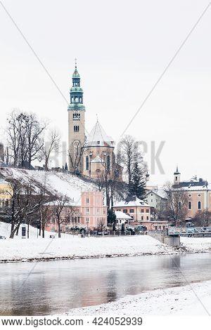 Salzburg, Austria - February 26:  A Winter View Across The Salzach River In Salzburg, Austria On Feb