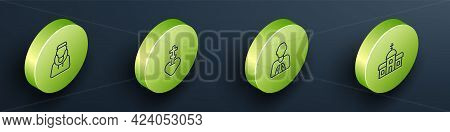 Set Isometric Line Monk, Religious Cross In Heart, Hands Praying Position And Church Building Icon.