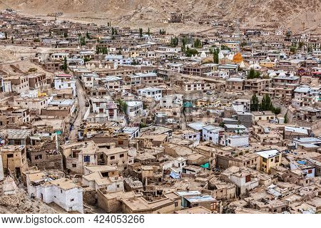 Aerial view of Leh city the capital of Ladah region in Himalayas mountains from above. Ladakh, , India