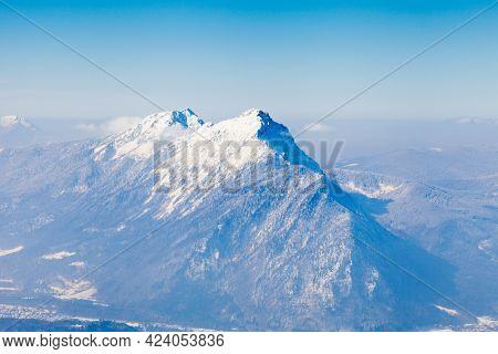 The View From The Summit Of Untersberg Mountain In Austria Towards Two Mountains Zwiesel In Bavaria,