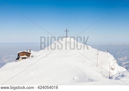 Untersberg Summit.  The View From The Summit Of Untersberg Mountain In Austria Looking Towards The C