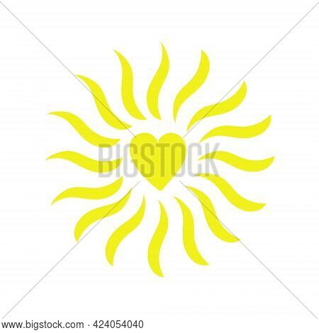 Simple Sun Vector Flat Illustration With Heart Shape Middle, Cute Summer Image For Making Cards, Dec