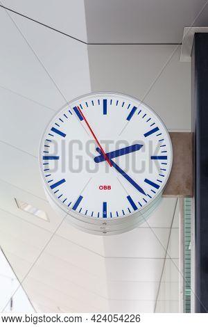 Bruck - Fusch, Austria - March 1:  An Obb Clock Adorns Bruck - Fusch Station In The State Of Salzbur