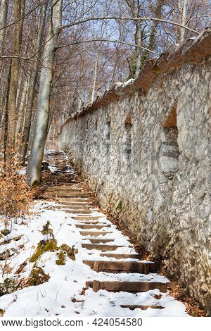 Snow Covered Footpath.  A Snow Covered Footpath Alongside The Fortified Walls On Kapzinerberg, A Hil