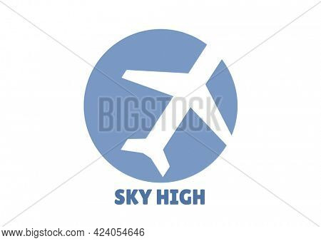Composition of sky high text, with white aeroplane in blue circle on white. holiday and travel guide design template concept digitally generated image.