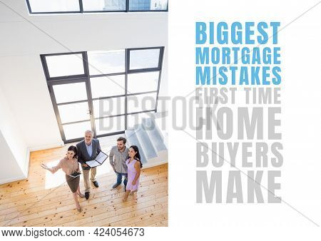 Composition of biggest mortgage mistakes text, with real estate agents and couple in modern home. property and finance guide design template concept digitally generated image.