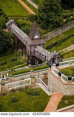 Wonderful Covered Wooden Bridge By Dusan Jurkovic In Italian Garden, Baroque Park In Sunny Summer Da