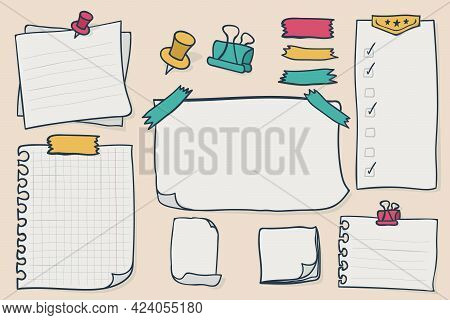 Set Blank Paper Notes. Vector Elements For Notebook, Diary, Reminders