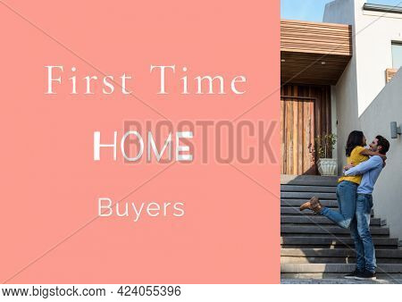 Composition of first time house buyers text in white, with happy couple outside house, on pink. property and finance guide design template concept digitally generated image.