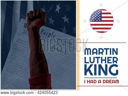 Composition of martin luther king quote text, with raised fist and american flag on white. martin luther king day celebration poster design template concept digitally generated image.