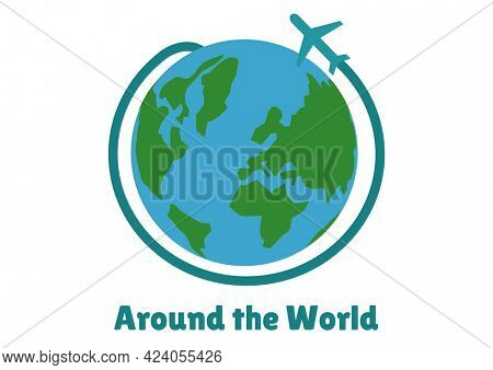 Composition of around the world text, with aeroplane circling globe, on white. holiday and travel guide design template concept digitally generated image.