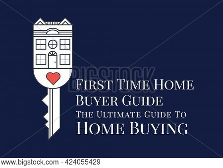 Composition of home buyer guide text in white, with house key and heart design on blue. property and finance guide design template concept digitally generated image.