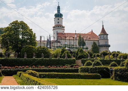 Baroque Romantic Castle Nove Mesto Nad Metuji With Park, Renaissance Chateau, Round White Clock Towe