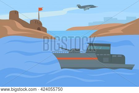 Warship With Cannon On Board Approaching Fortress From Water. Cartoon Vector Illustration. Military