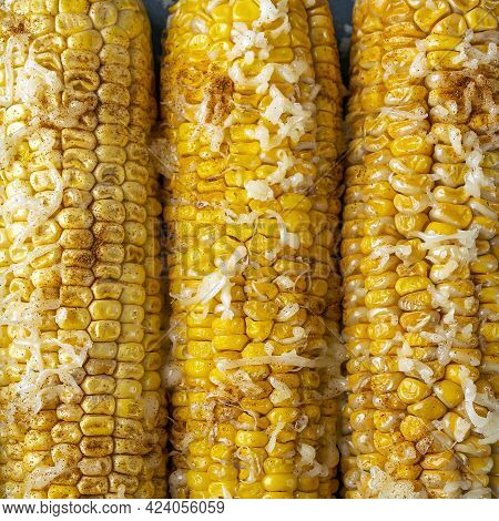 Recipe Homemade Cooking. Mexican Elote Corn Sprinkled With Cheese Or Parmesan, Cilantro, Spices And