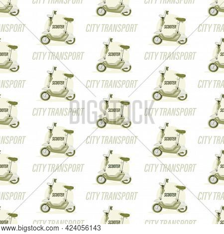 Electric Scooter Background. Vector Motorcycle. Fast For Food Delivery. Trendy  Green Scooter, Isola