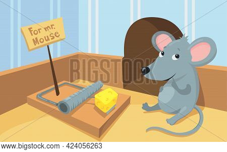 Gray Mouse Sitting In Front Of Mousetrap With Piece Of Cheese. Cartoon Vector Illustration. Rodent B