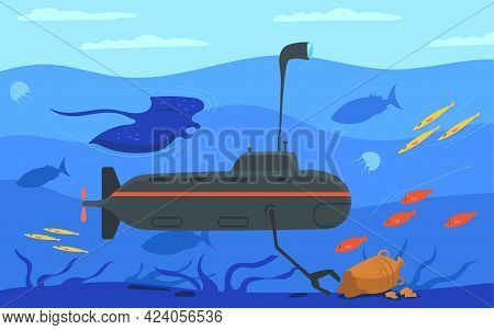 Submarine Surrounded By Marine Life. Cartoon Vector Illustration. Underwater Craft Collecting Ancien