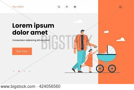 Father Walking With His Children. Flat Vector Illustration. Cartoon Man With Daughter And Carriage W