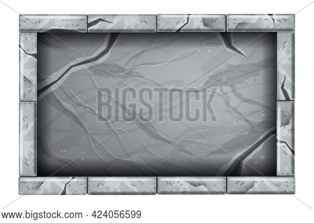 Stone Sign Board Game Ui Illustration, Vector Marble Rectangle Tablet, Cracked Granite Rock Frame. S