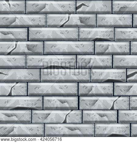 Stone Pavement Seamless Pattern, Gray Brick Wall Vector Texture, Ground Tile Top View Illustration.