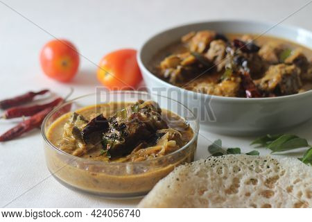 Kerala Style Traditional Spicy Mutton Curry Prepared With Coconut Milk.