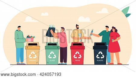 Women And Men Distributing Waste In Dustbins. People Sorting Paper, Plastic, Glass And Organic Rubbi