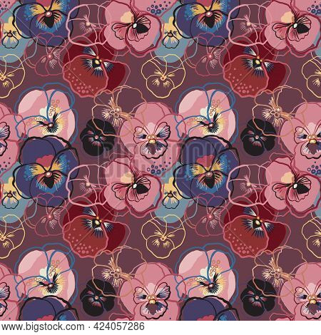 Vector Illustration Of Floral Seamless Pattern. Blue, Red, Yellow, Purple Flowers On A Gark Pink Bac