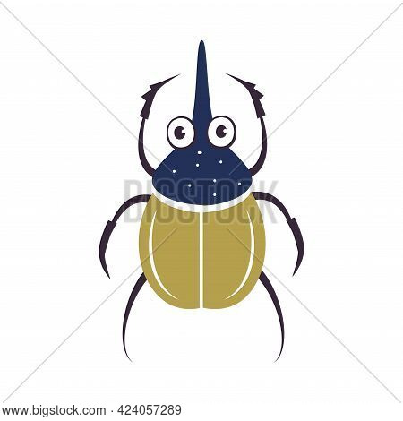 Cute Rhinoceros Beetle Insect, Lovely Colorful Gastropod Creature Cartoon Vector Illustration