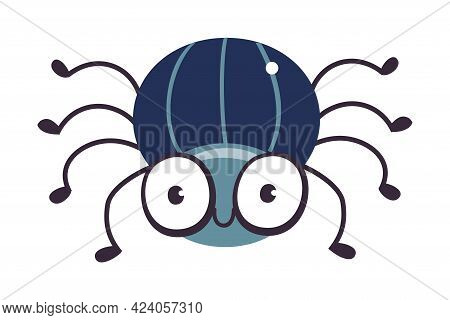 Cute Big Eyed Beetle Insect, Funny Creature Cartoon Vector Illustration
