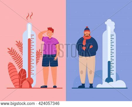 Men In Heat And Cold Weather Flat Vector Illustration. Male People In Extreme Hot And Freeze. Charac