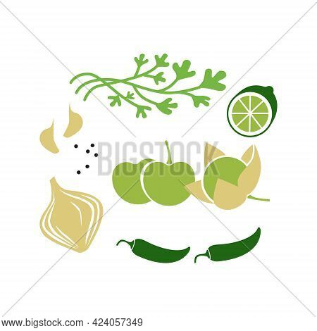 Fresh Raw Ingredients For Salsa Verde Or Green Salsa. Vector Illustration Isolated On White.