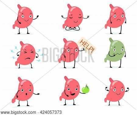 Set Of Cute Human Stomach Character. Cartoon Vector Illustration. Sick Or Happy, Sad, Strong Abdomen