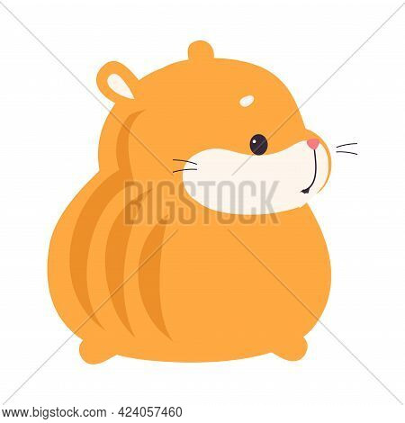 Back View Of Cute Hamster, Adorable Funny Red Pet Animal Character Cartoon Vector Illustration