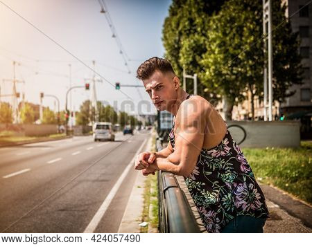 Handsome Fit Young Man In Tank-top, Outdoor In City