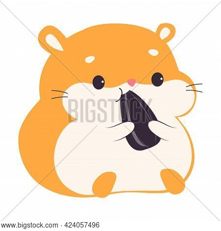 Cute Hamster Eating Sunflower Seed, Adorable Red Pet Animal Character Cartoon Vector Illustration