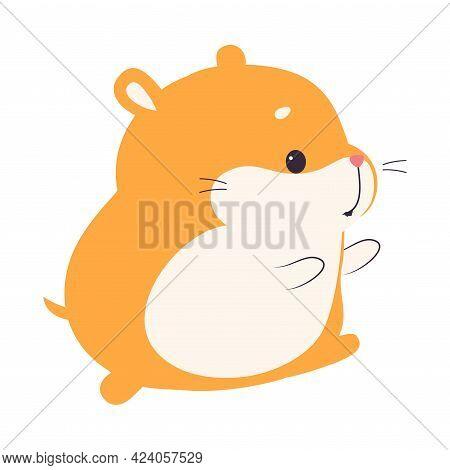 Cute Funny Hamster, Adorable Pet Animal Cartoon Vector Illustration