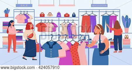 Girls Choosing Modern Clothes In Store Flat Vector Illustration. Female Consumers Doing Purchases, B