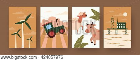 Set Of Contemporary Art Posters With Natural Resources. Animals, Wind Energy, Soil, Land Cartoon Vec