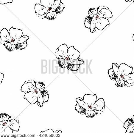 Vector Cherry Blossom Lineart In Black And White With A Bit Of Pink Seamless Pattern Background. Per