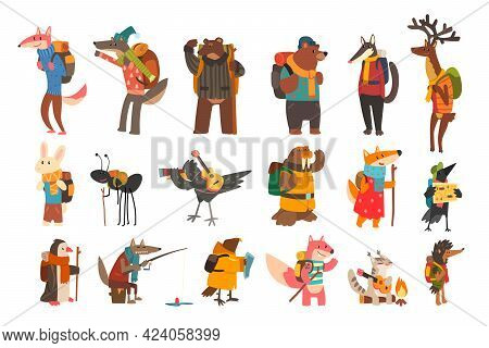 Set Of Wild Animals Traveling And Camping, Different Wild Animals With Backpacks Hiking And Fishing,