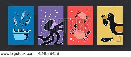 Colorful Set Of Contemporary Art Posters With Sea Animals Theme. Vector Illustration. .collection Of