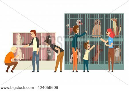 Set Of People Adopting Pets From Animal Shelter, People Helping Homeless Animals Vector Illustration
