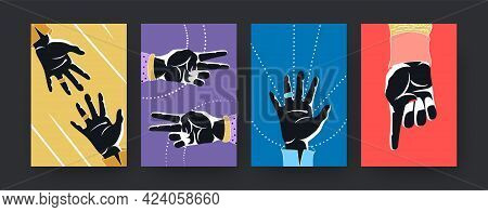 Colorful Set Of Contemporary Art Poster With Hands Silhouettes. Vector Illustration. Collection Of H