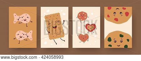 Set Of Contemporary Posters With Cute Biscuit Characters. Fish, Heart, Circle Cookies, Cracker Carto
