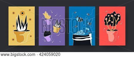 Colorful Set Of Contemporary Art Posters With Plants And Bees. Vector Illustration. .collection Of F