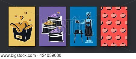 Set Of Contemporary Art Posters With Market Theme. Vector Illustration. Collection Of Colored Vegeta