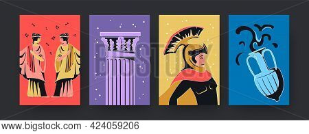 Set Of Contemporary Art Posters With Ancient Rome Theme. Vector Illustration. .collection Of Colored