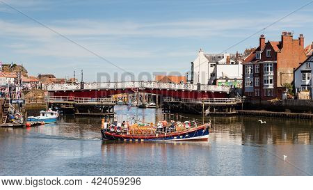 Whitby, England - June 25:  A Tourist Boat Is Pictured On The River Esk In The Seaside Town Of Whitb