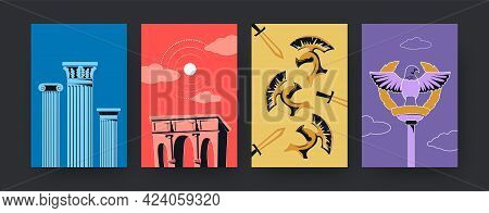 Set Of Contemporary Art Posters With Ancient Symbols Of Rome. Vector Illustration. .collection Of Co